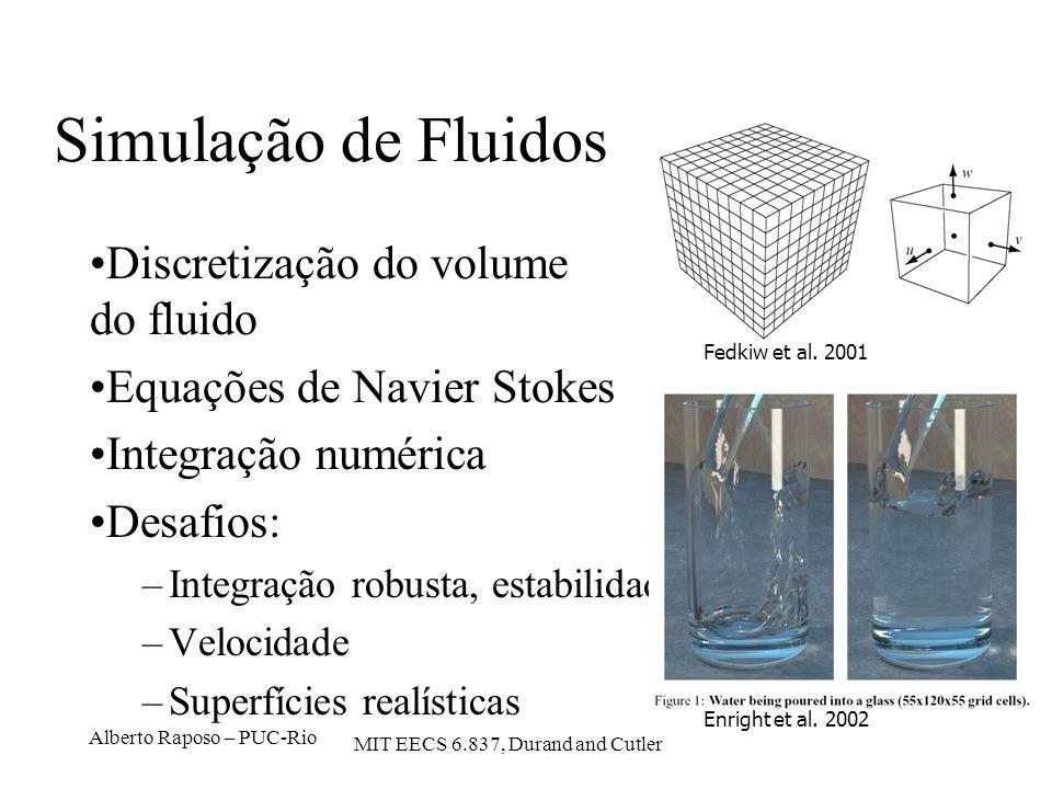 Alberto Raposo – PUC-Rio Simulação de Fluidos Discretização do volume do fluido Equações de Navier Stokes Integração numérica Desafios: –Integração ro