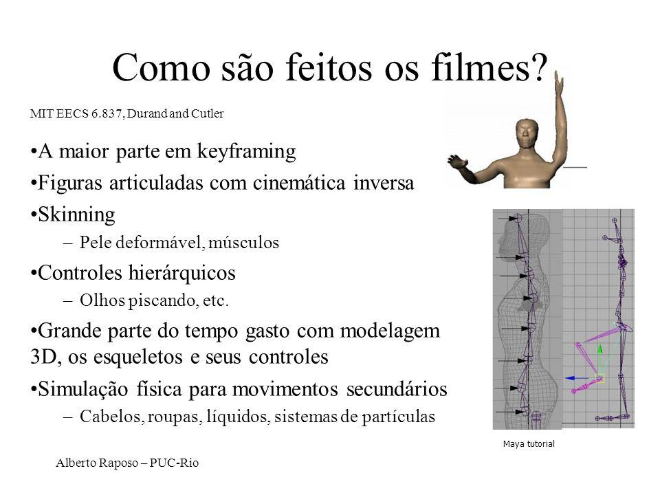 Alberto Raposo – PUC-Rio Como são feitos os filmes? A maior parte em keyframing Figuras articuladas com cinemática inversa Skinning –Pele deformável,