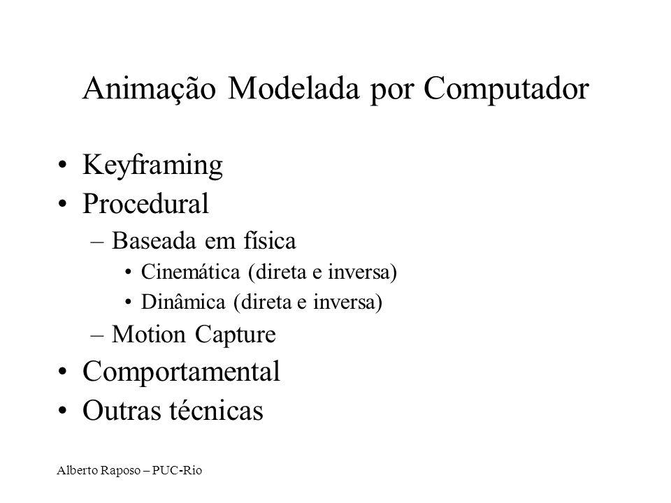 Alberto Raposo – PUC-Rio Animação Modelada por Computador Keyframing Procedural –Baseada em física Cinemática (direta e inversa) Dinâmica (direta e in