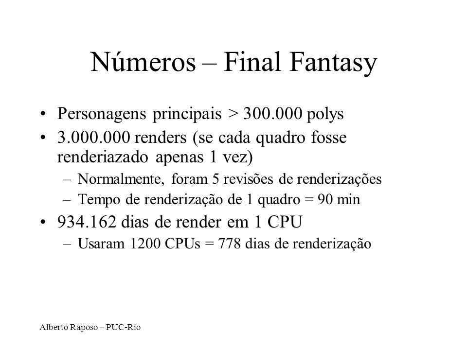Alberto Raposo – PUC-Rio Números – Final Fantasy Personagens principais > 300.000 polys 3.000.000 renders (se cada quadro fosse renderiazado apenas 1