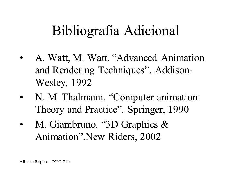 Alberto Raposo – PUC-Rio Bibliografia Adicional A. Watt, M. Watt. Advanced Animation and Rendering Techniques. Addison- Wesley, 1992 N. M. Thalmann. C