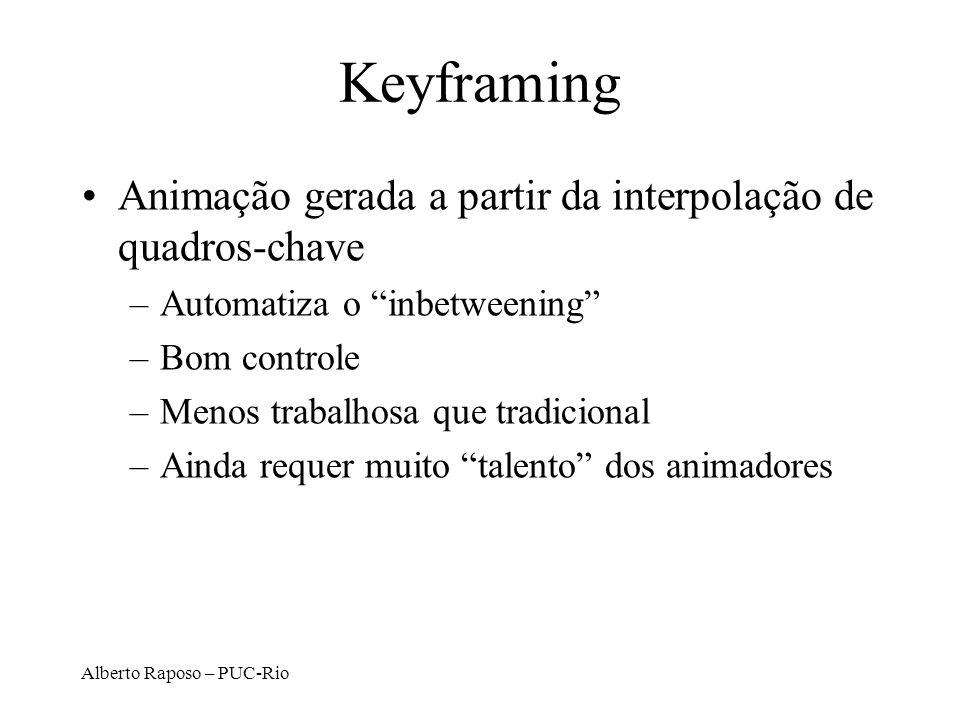 Alberto Raposo – PUC-Rio Keyframing Descrição dos movimentos dos objetos como função no tempo de um conjunto de posições- chave.
