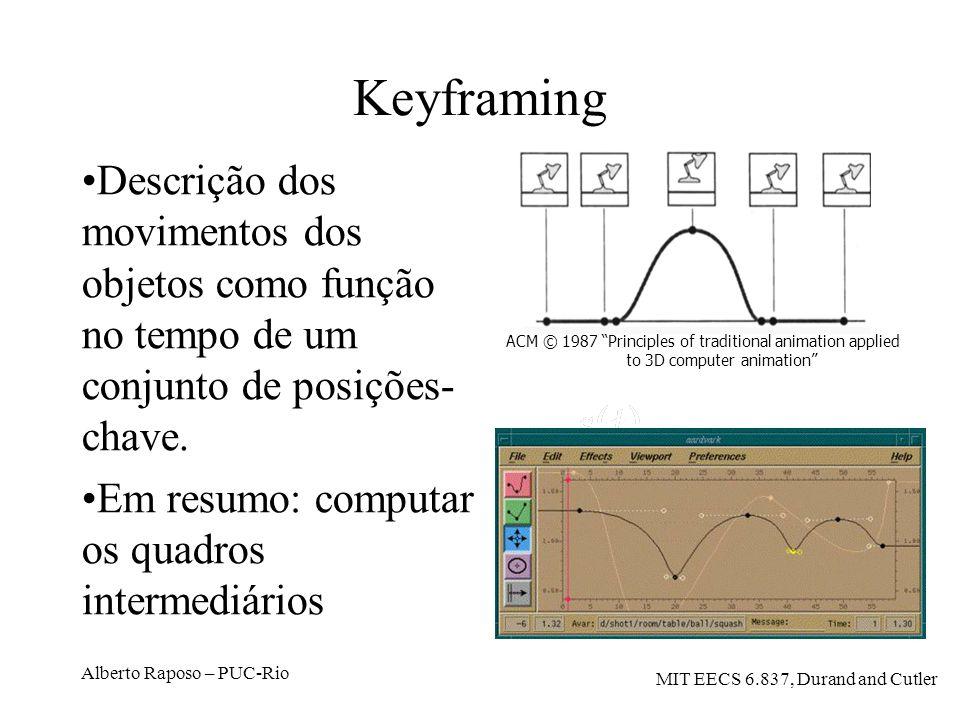Alberto Raposo – PUC-Rio Keyframing Descrição dos movimentos dos objetos como função no tempo de um conjunto de posições- chave. Em resumo: computar o