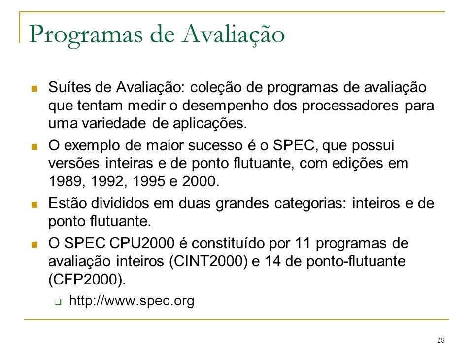 28 Programas de Avaliação Suítes de Avaliação: coleção de programas de avaliação que tentam medir o desempenho dos processadores para uma variedade de