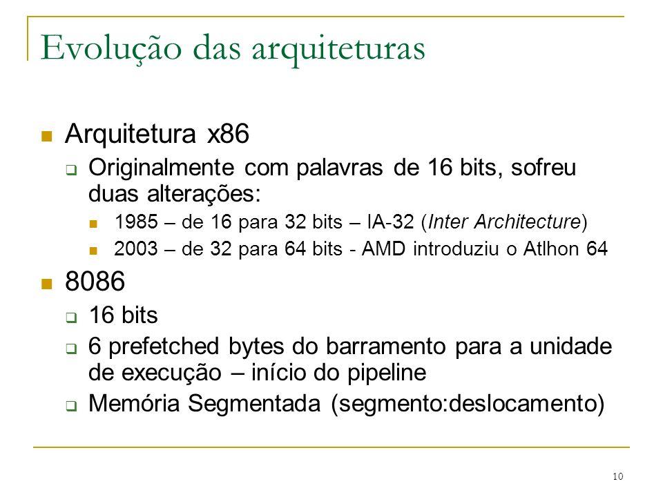 10 Evolução das arquiteturas Arquitetura x86 Originalmente com palavras de 16 bits, sofreu duas alterações: 1985 – de 16 para 32 bits – IA-32 (Inter Architecture) 2003 – de 32 para 64 bits - AMD introduziu o Atlhon 64 8086 16 bits 6 prefetched bytes do barramento para a unidade de execução – início do pipeline Memória Segmentada (segmento:deslocamento)