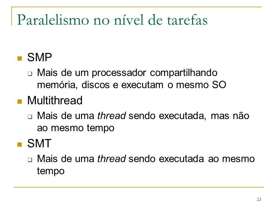 23 Paralelismo no nível de tarefas SMP Mais de um processador compartilhando memória, discos e executam o mesmo SO Multithread Mais de uma thread sendo executada, mas não ao mesmo tempo SMT Mais de uma thread sendo executada ao mesmo tempo