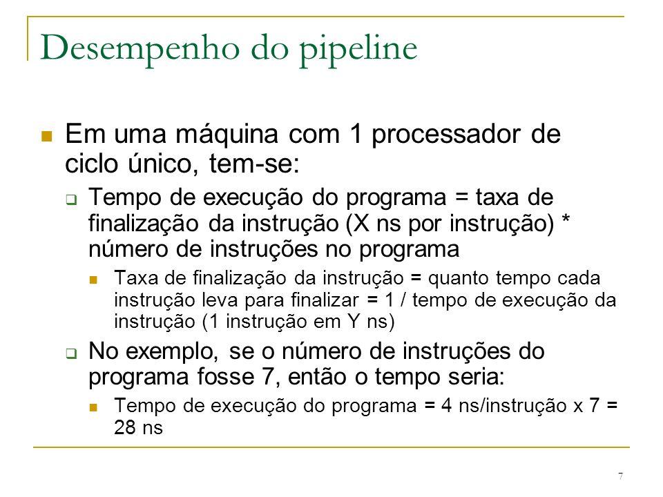 7 Desempenho do pipeline Em uma máquina com 1 processador de ciclo único, tem-se: Tempo de execução do programa = taxa de finalização da instrução (X