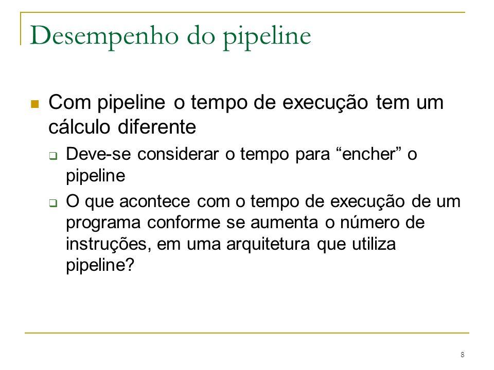 8 Desempenho do pipeline Com pipeline o tempo de execução tem um cálculo diferente Deve-se considerar o tempo para encher o pipeline O que acontece co