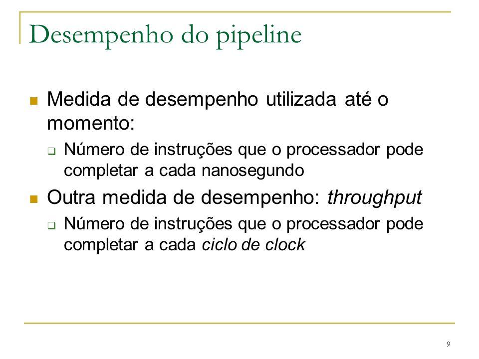 9 Desempenho do pipeline Medida de desempenho utilizada até o momento: Número de instruções que o processador pode completar a cada nanosegundo Outra
