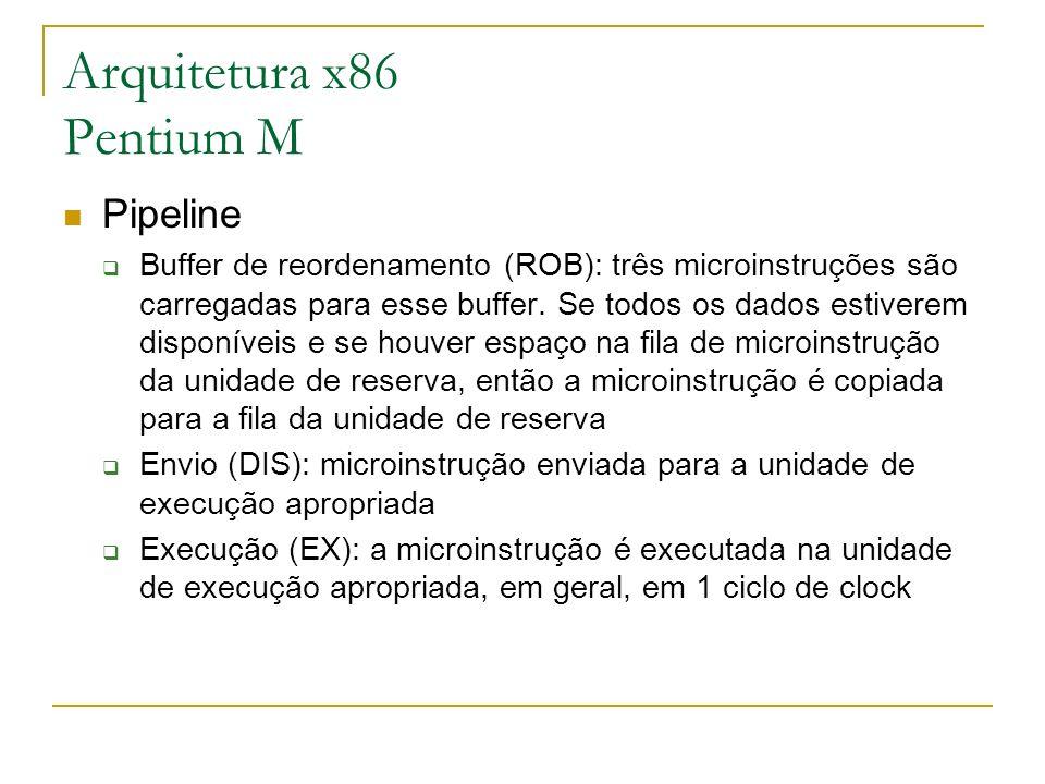 Arquitetura x86 Pentium M Pipeline Buffer de reordenamento (ROB): três microinstruções são carregadas para esse buffer. Se todos os dados estiverem di
