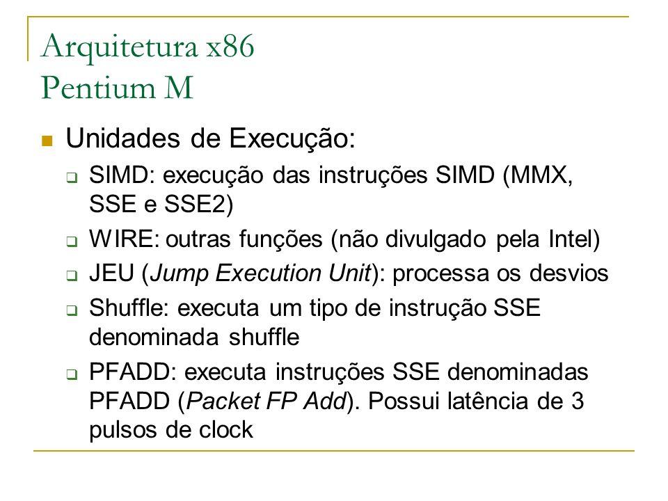 Arquitetura x86 Pentium M Unidades de Execução: SIMD: execução das instruções SIMD (MMX, SSE e SSE2) WIRE: outras funções (não divulgado pela Intel) J