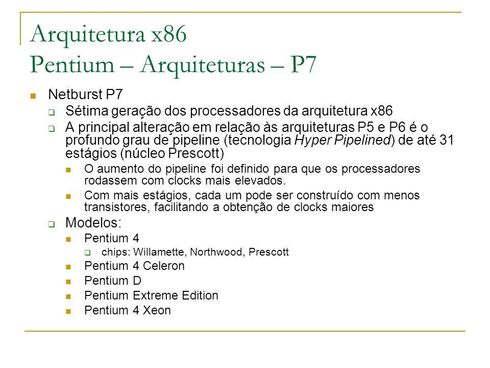 Arquitetura x86 Pentium – Arquiteturas – P7 Netburst P7 Sétima geração dos processadores da arquitetura x86 A principal alteração em relação às arquit