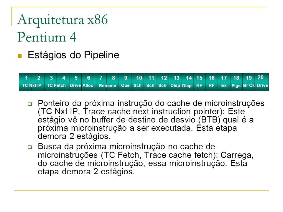 Arquitetura x86 Pentium 4 Estágios do Pipeline Ponteiro da próxima instrução do cache de microinstruções (TC Nxt IP, Trace cache next instruction poin