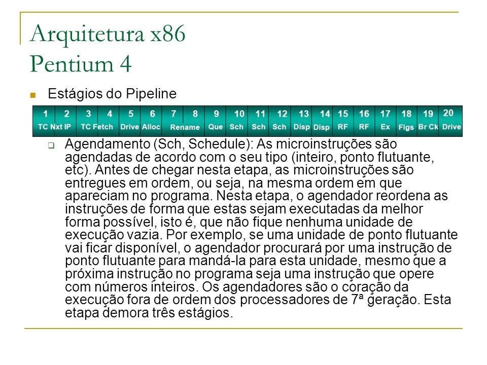 Estágios do Pipeline Agendamento (Sch, Schedule): As microinstruções são agendadas de acordo com o seu tipo (inteiro, ponto flutuante, etc). Antes de