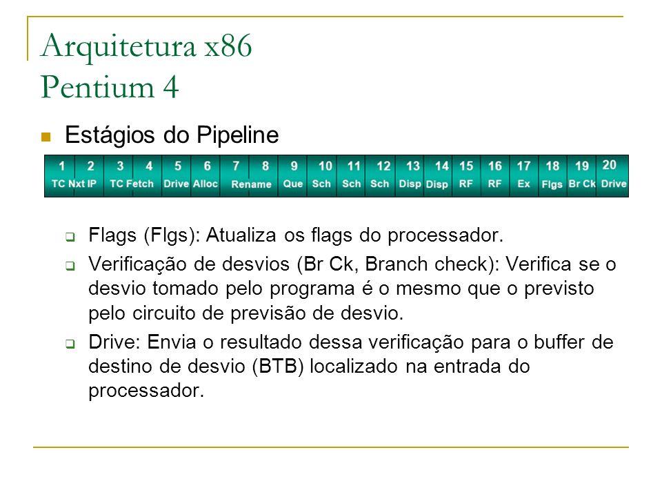 Estágios do Pipeline Flags (Flgs): Atualiza os flags do processador. Verificação de desvios (Br Ck, Branch check): Verifica se o desvio tomado pelo pr