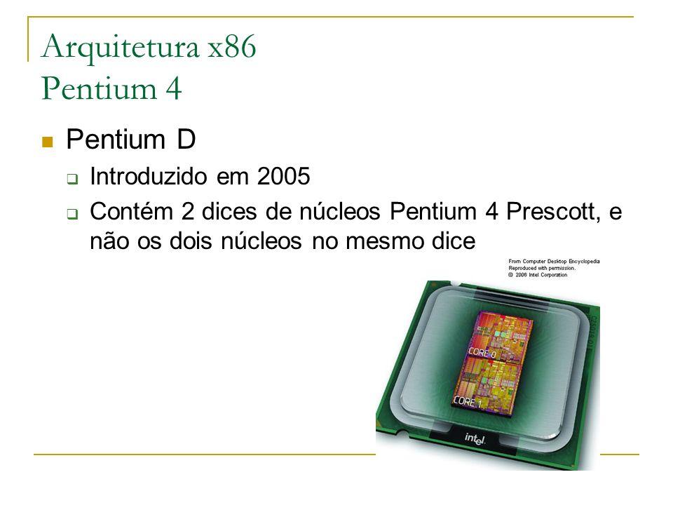 Arquitetura x86 Pentium 4 Pentium D Introduzido em 2005 Contém 2 dices de núcleos Pentium 4 Prescott, e não os dois núcleos no mesmo dice