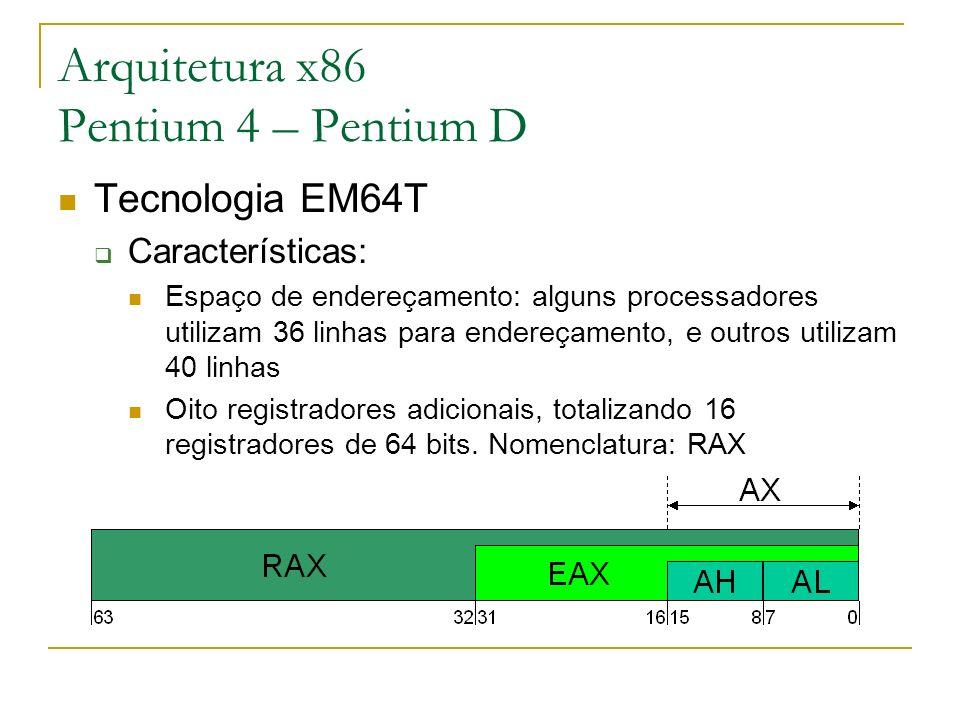 Arquitetura x86 Pentium 4 – Pentium D Tecnologia EM64T Características: Espaço de endereçamento: alguns processadores utilizam 36 linhas para endereça