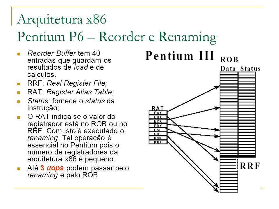 Arquitetura x86 Pentium P6 – Reorder e Renaming Reorder Buffer tem 40 entradas que guardam os resultados de load e de cálculos. RRF: Real Register Fil