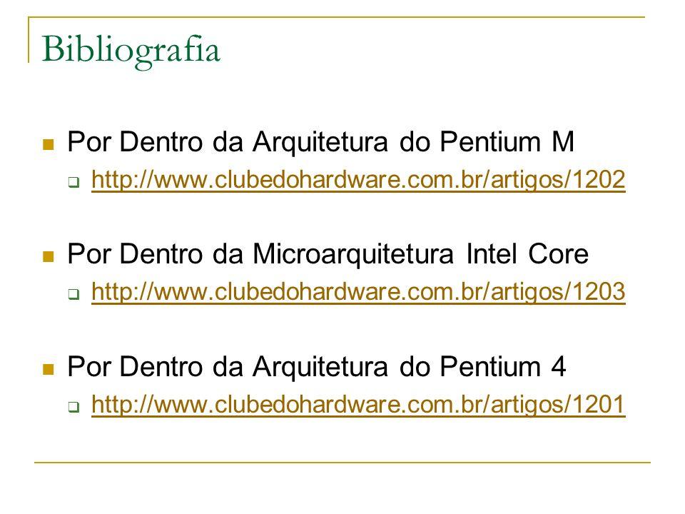 Bibliografia Por Dentro da Arquitetura do Pentium M http://www.clubedohardware.com.br/artigos/1202 Por Dentro da Microarquitetura Intel Core http://ww