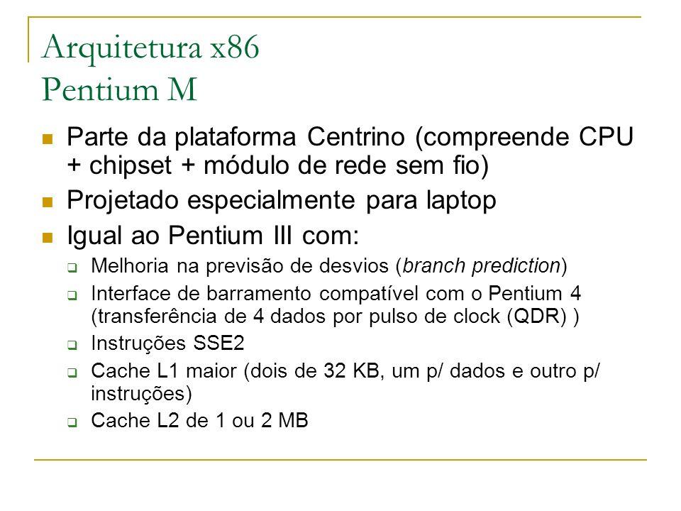 Arquitetura x86 Pentium M Parte da plataforma Centrino (compreende CPU + chipset + módulo de rede sem fio) Projetado especialmente para laptop Igual a