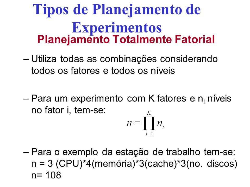 Tipos de Planejamento de Experimentos Planejamento Totalmente Fatorial –Utiliza todas as combinações considerando todos os fatores e todos os níveis –