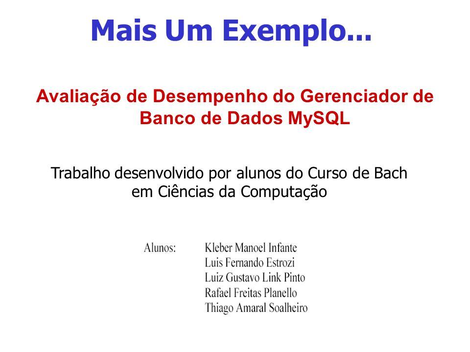 Mais Um Exemplo... Avaliação de Desempenho do Gerenciador de Banco de Dados MySQL Trabalho desenvolvido por alunos do Curso de Bach em Ciências da Com