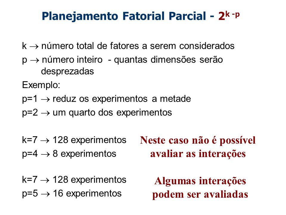 Planejamento Fatorial Parcial - 2 k -p k número total de fatores a serem considerados p número inteiro - quantas dimensões serão desprezadas Exemplo: