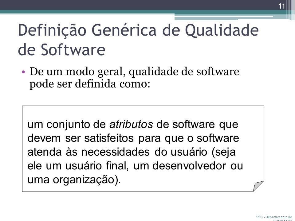 SSC - Departamento de Sistemas de Computação 11 Definição Genérica de Qualidade de Software um conjunto de atributos de software que devem ser satisfe