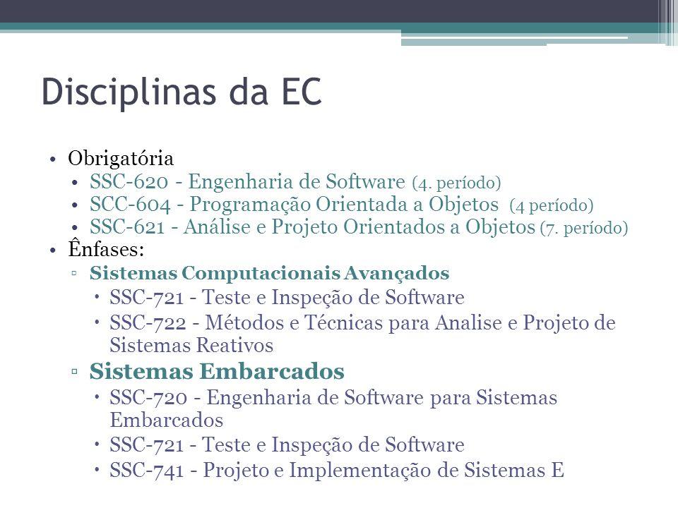 Disciplinas da EC Obrigatória SSC-620 - Engenharia de Software (4. período) SCC-604 - Programação Orientada a Objetos (4 período) SSC-621 - Análise e