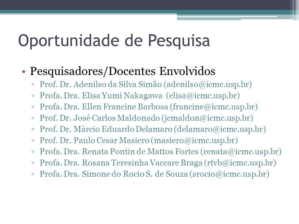 Oportunidade de Pesquisa Pesquisadores/Docentes Envolvidos Prof. Dr. Adenilso da Silva Simão (adenilso@icmc.usp.br) Profa. Dra. Elisa Yumi Nakagawa (e