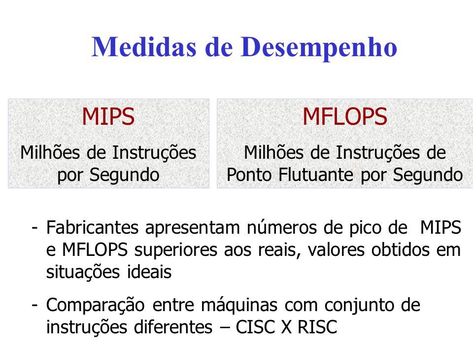 Medidas de Desempenho -Fabricantes apresentam números de pico de MIPS e MFLOPS superiores aos reais, valores obtidos em situações ideais -Comparação e
