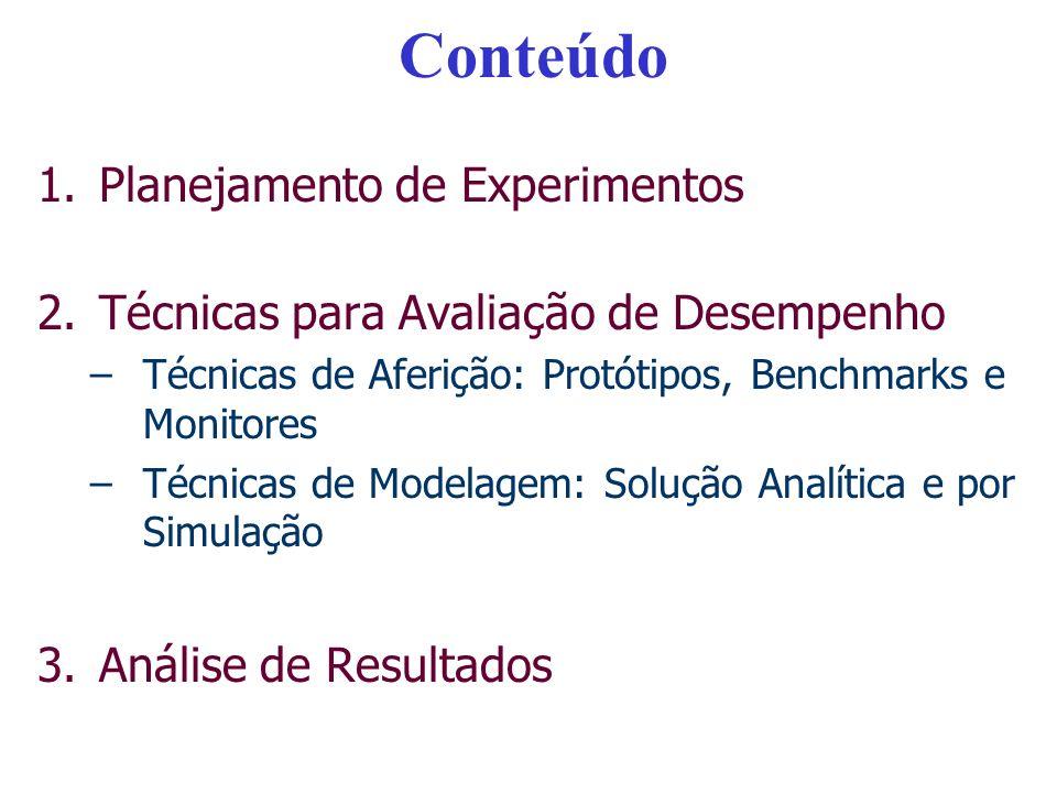 Conteúdo 1.Planejamento de Experimentos 2.Técnicas para Avaliação de Desempenho –Técnicas de Aferição: Protótipos, Benchmarks e Monitores –Técnicas de