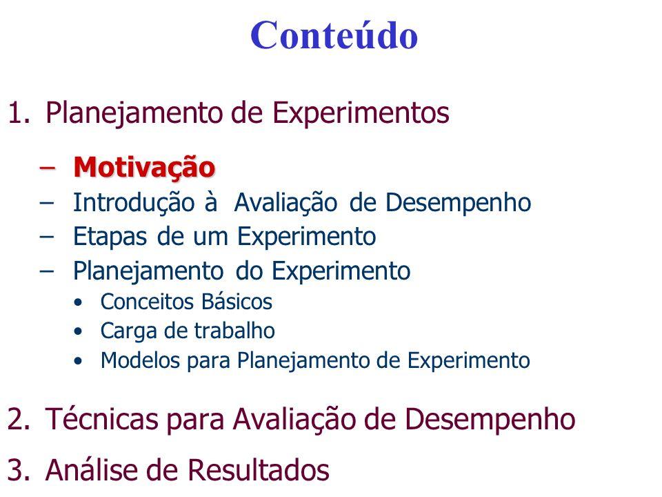 Conteúdo – Parte II 1.Planejamento de Experimentos –Motivação –Introdução à Avaliação de Desempenho –Etapas de um Experimento –Planejamento do Experimento Conceitos Básicos Carga de trabalho Modelos para Planejamento de ExperimentoModelos para Planejamento de Experimento 2.Técnicas para Avaliação de Desempenho 3.Análise de Resultados