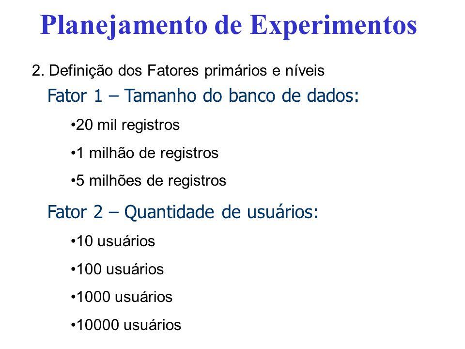 Fator 1 – Tamanho do banco de dados: 20 mil registros 1 milhão de registros 5 milhões de registros Fator 2 – Quantidade de usuários: 10 usuários 100 u