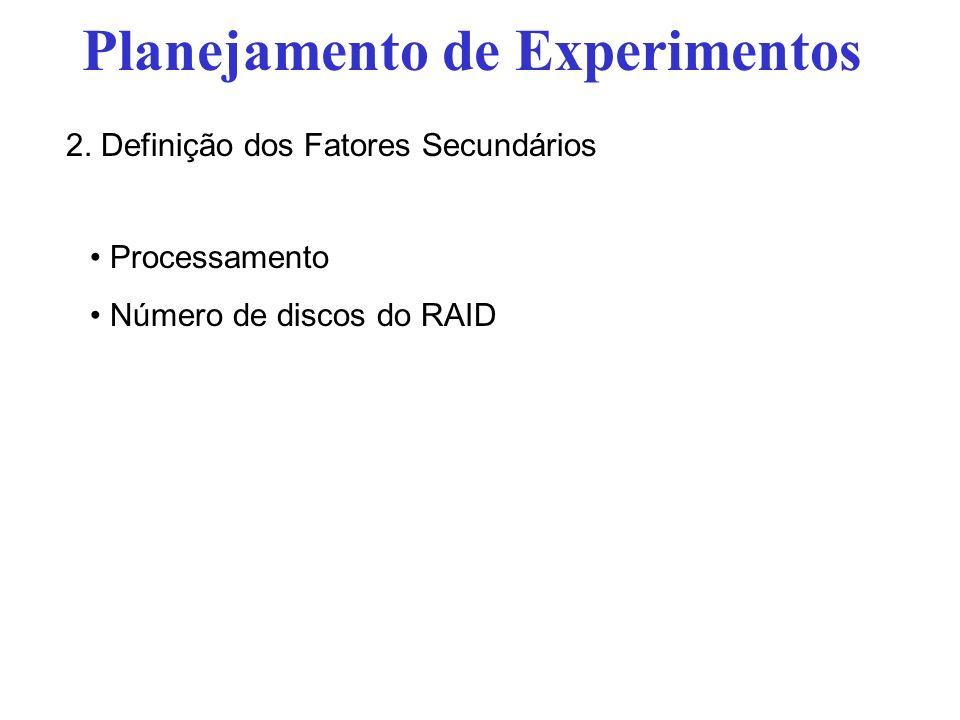 Processamento Número de discos do RAID Planejamento de Experimentos 2. Definição dos Fatores Secundários