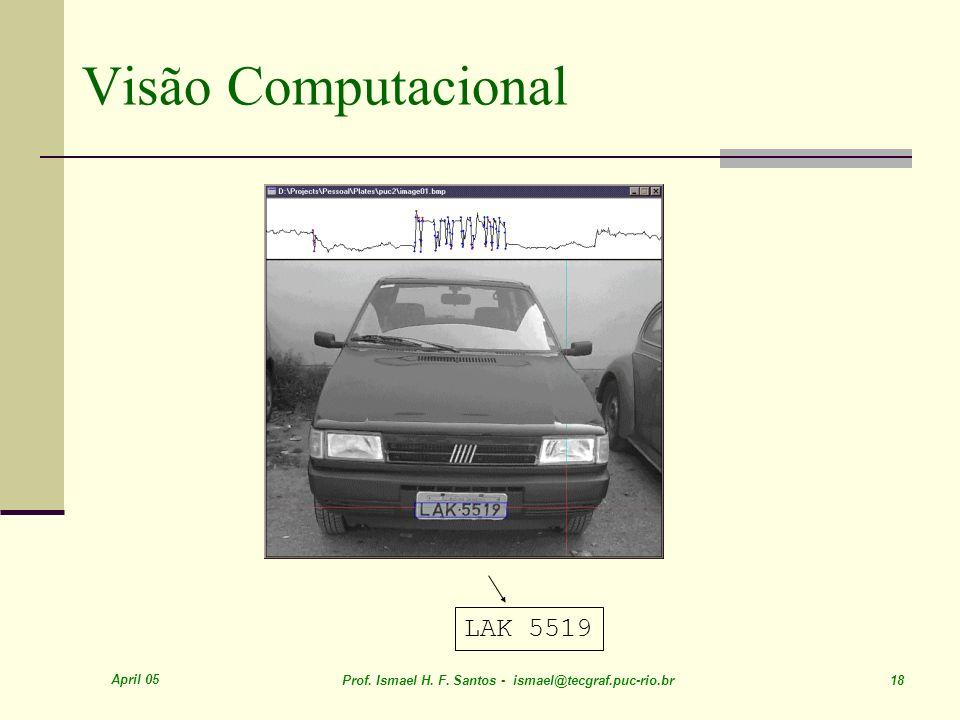 April 05 Prof. Ismael H. F. Santos - ismael@tecgraf.puc-rio.br 18 Visão Computacional LAK 5519