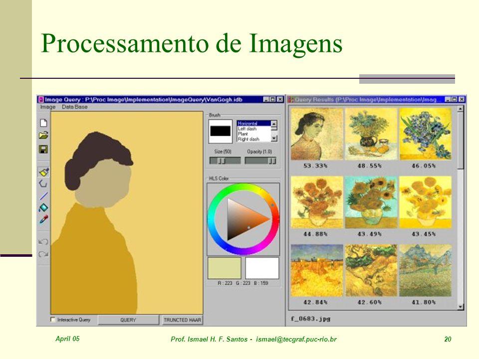April 05 Prof. Ismael H. F. Santos - ismael@tecgraf.puc-rio.br 20 Processamento de Imagens