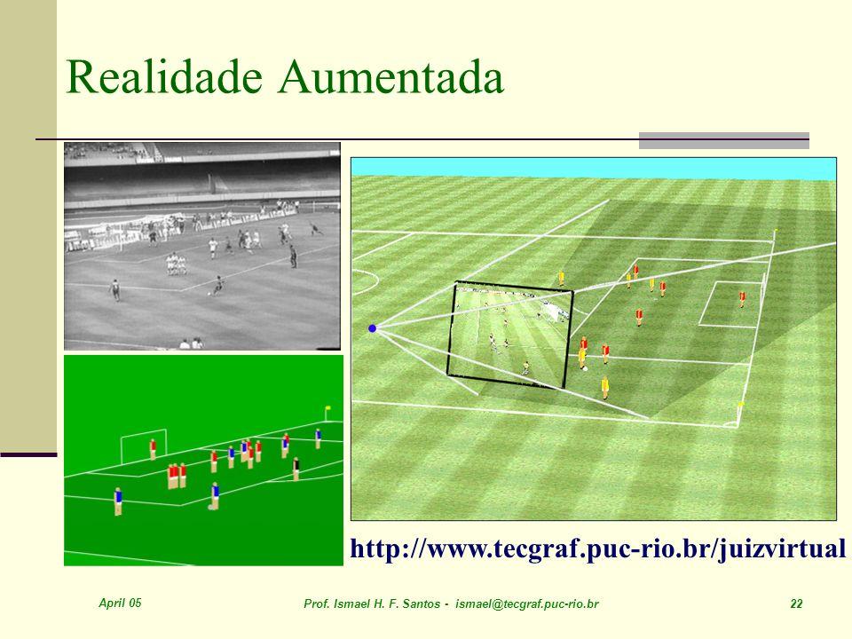 April 05 Prof. Ismael H. F. Santos - ismael@tecgraf.puc-rio.br 22 Realidade Aumentada http://www.tecgraf.puc-rio.br/juizvirtual