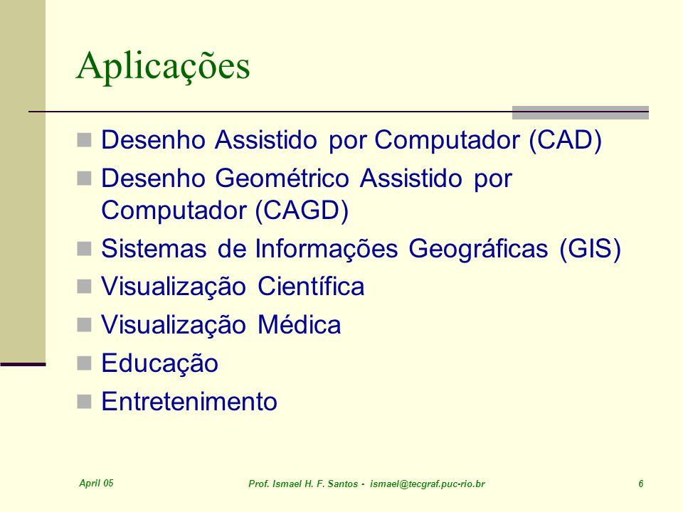 April 05 Prof. Ismael H. F. Santos - ismael@tecgraf.puc-rio.br 6 Aplicações Desenho Assistido por Computador (CAD) Desenho Geométrico Assistido por Co