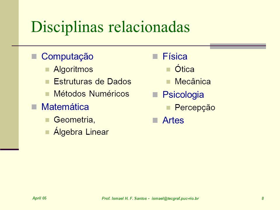 April 05 Prof. Ismael H. F. Santos - ismael@tecgraf.puc-rio.br 8 Disciplinas relacionadas Computação Algoritmos Estruturas de Dados Métodos Numéricos
