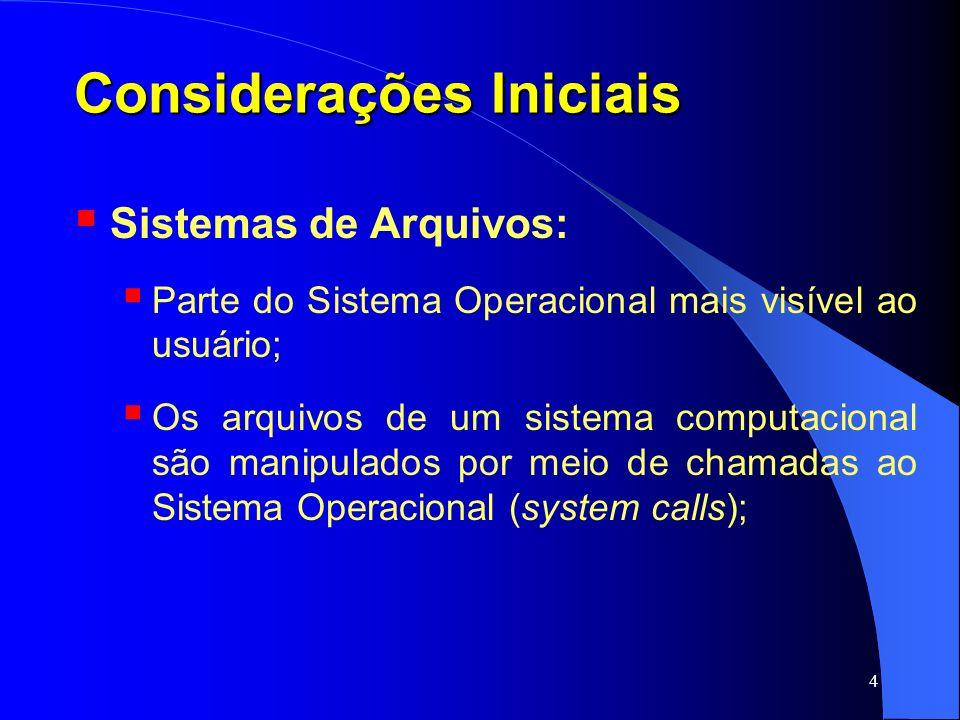 45 Diretórios Operações: Create ; Delete ; Opendir ; Closedir ; Readdir ; Rename ; Link (um arquivo pode aparecer em mais de um diretório) ; Unlink ;