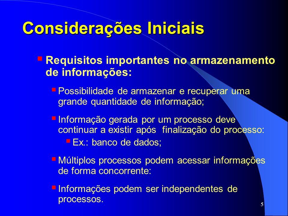 6 Considerações Iniciais Para atender a esses requisitos informação é: armazenada em discos (ou outra mídia persistente); organizada em unidades chamadas arquivos.