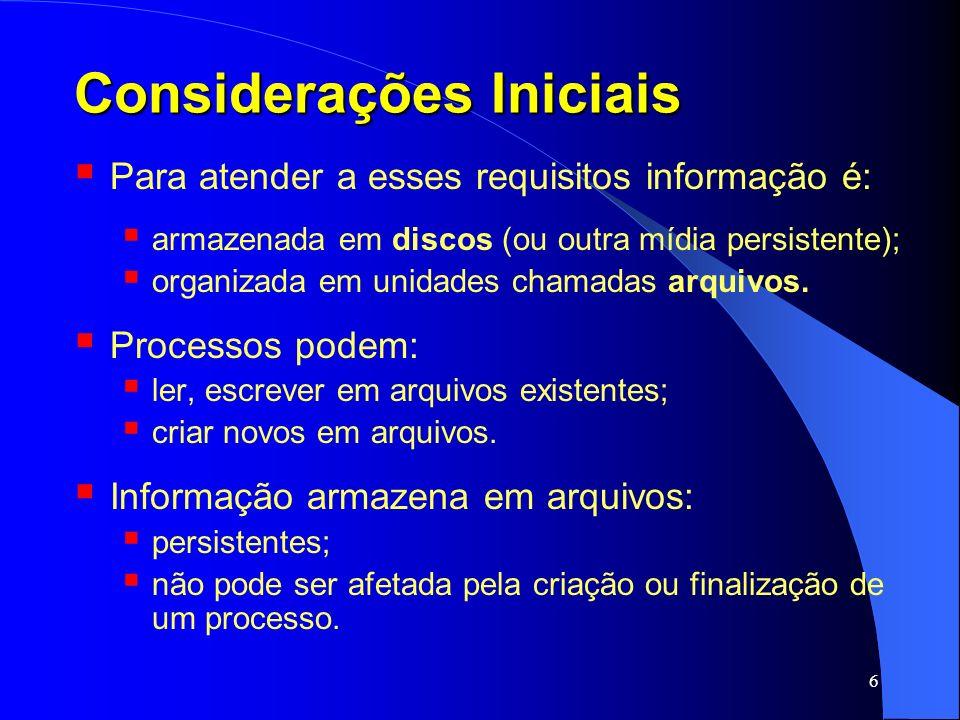 7 Considerações Iniciais Arquivos são manipulados pelo S.O.