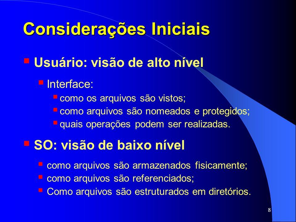 9 Conteúdo Considerações Iniciais Arquivos Diretórios Implementação Considerações Finais