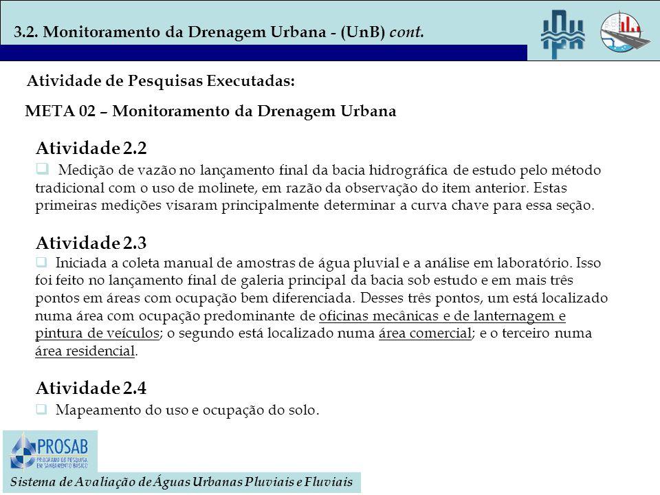 3.2. Monitoramento da Drenagem Urbana - (UnB) cont. Sistema de Avaliação de Águas Urbanas Pluviais e Fluviais Atividade 2.2 Medição de vazão no lançam