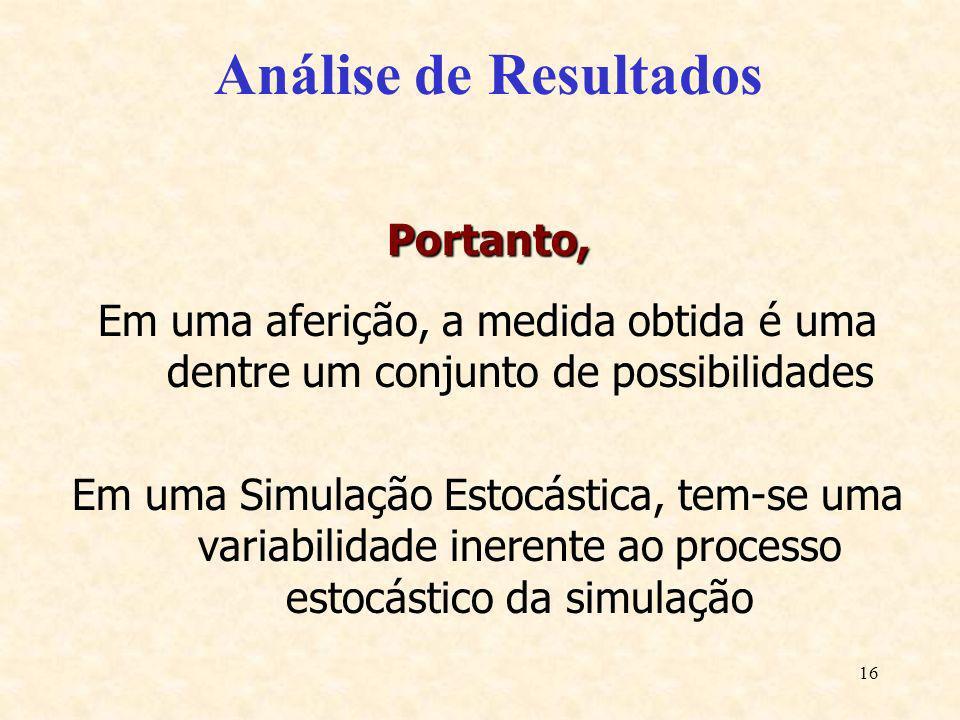 16 Análise de Resultados Portanto, Em uma aferição, a medida obtida é uma dentre um conjunto de possibilidades Em uma Simulação Estocástica, tem-se um