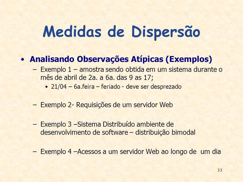 33 Medidas de Dispersão Analisando Observações Atípicas (Exemplos) –Exemplo 1 – amostra sendo obtida em um sistema durante o mês de abril de 2a. a 6a.