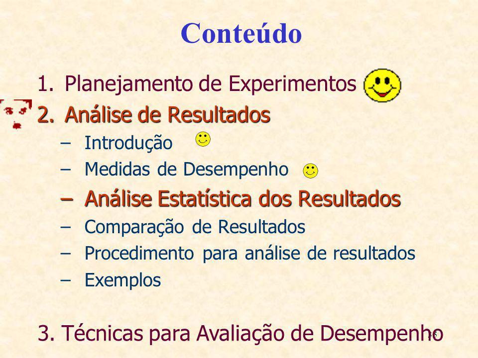 35 Conteúdo 1.Planejamento de Experimentos 2.Análise de Resultados –Introdução –Medidas de Desempenho –Análise Estatística dos Resultados –Comparação