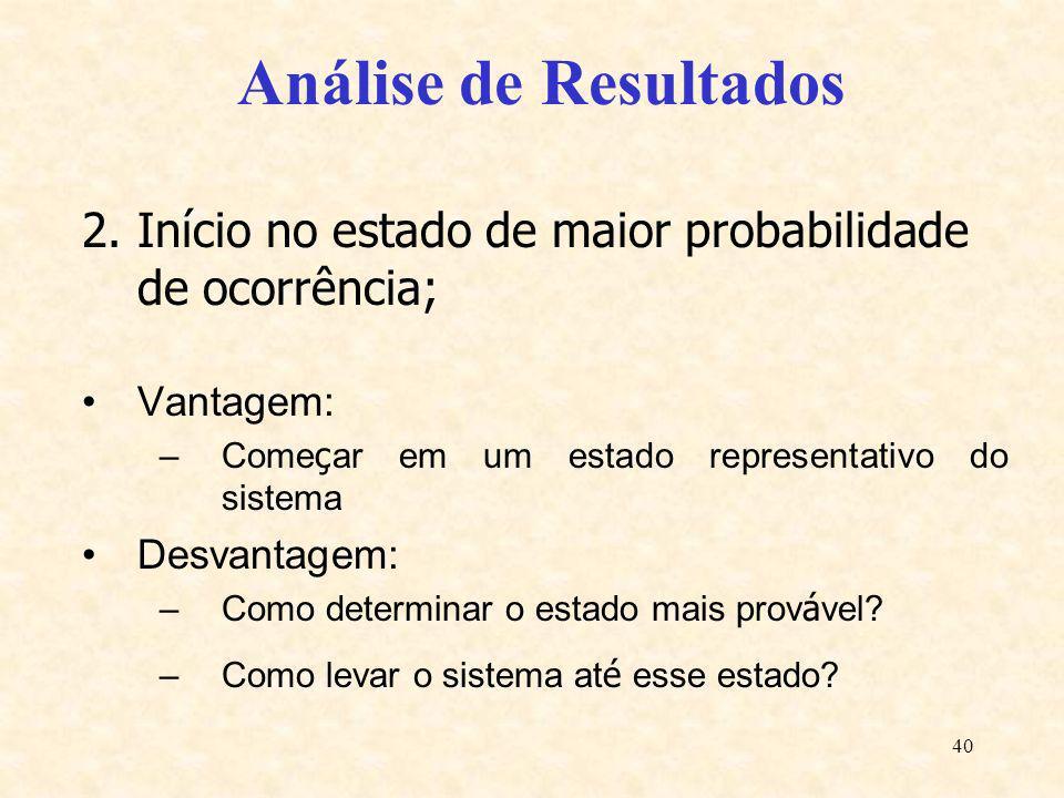 40 Análise de Resultados 2.Início no estado de maior probabilidade de ocorrência; Vantagem: –Come ç ar em um estado representativo do sistema Desvanta