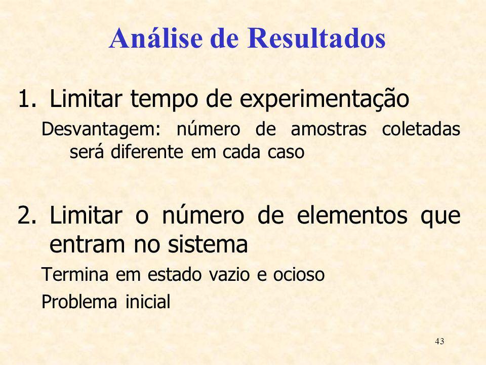 43 Análise de Resultados 1.Limitar tempo de experimentação Desvantagem: número de amostras coletadas será diferente em cada caso 2.Limitar o número de